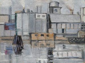 """Marghera zona portuale"", Roberto Pamio, olio su tela, 60 x 45 cm"