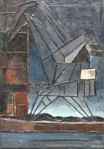 """Venezia zona portuale"", Roberto Pamio, olio su tela, 95 x 65 cm"