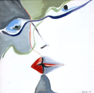 """Bacio"", Roberto Pamio, acrilico su tela, 90 x 90 cm"