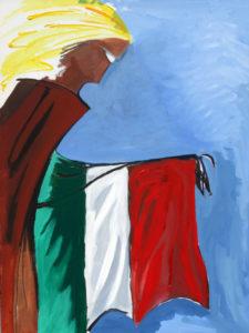"""""""Bandiera"""", Roberto Pamio, acrilico su tela, 120 x 90 cm"""