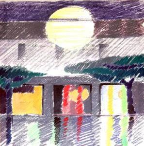 """Palma de Majorca"", Roberto Pamio, acrilico su tela, 100 x 100 cm"